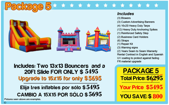 best inflatable castles and 20 ft slide