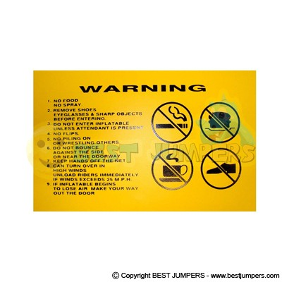 Warning Sign - Inflatable Jumpers - Inflatable Games - Water Bounce