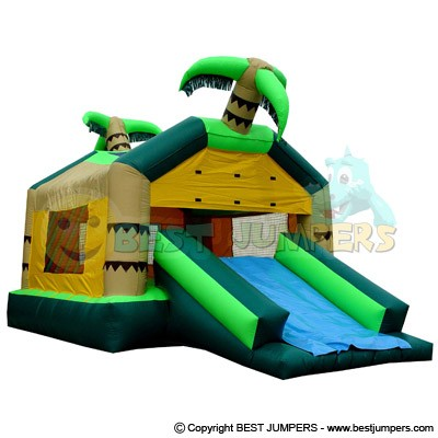 Bounce House Inflatable - Combo Bouncer - Tropical House - Inflatable Bouncer